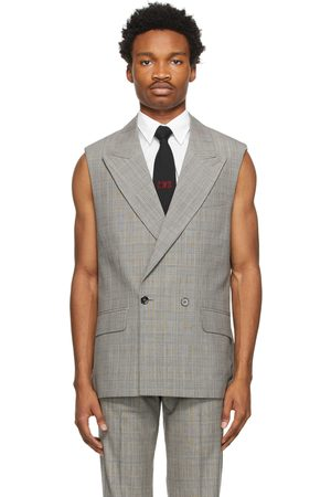 Ernest W. Baker Grey & Brown Houndstooth Sleeveless Double-Breasted Blazer