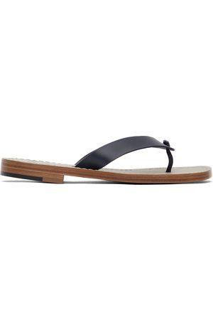 ISAIA Navy Leather Flip Flops