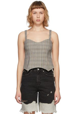SJYP Grey and Check Bustier Tank Top