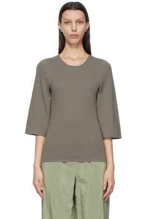 LEMAIRE Grey Crepe Jersey Three-Quarter Sleeve T-Shirt