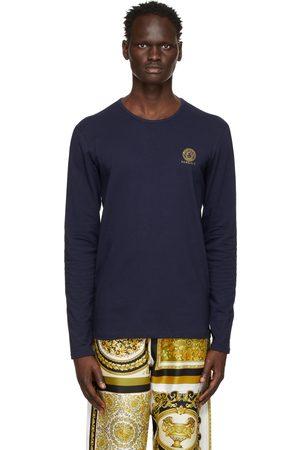 VERSACE Men Long Sleeve - Navy Medusa Long Sleeve T-Shirt