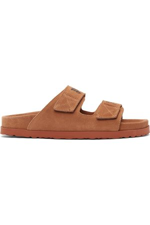Palm Angels Men Sandals - Tan Suede Logo Sandals