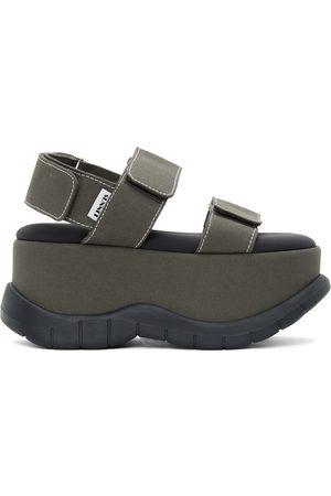 SUNNEI Women Sandals - Khaki Canvas Low Platform Sandals