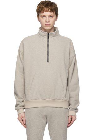 JOHN ELLIOTT Fur Terry Half-Zip Sweater