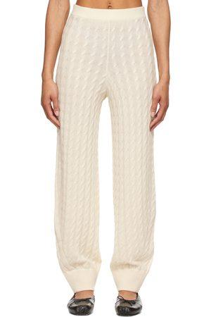 Totême Women Sweats - Off- Cashmere Cable Knit Lounge Pants