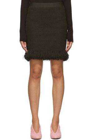Bottega Veneta Women Mini Skirts - Khaki Fringe Hem Miniskirt