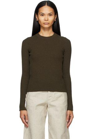 Bottega Veneta Women Sweaters - Khaki Rib Crewneck Sweater