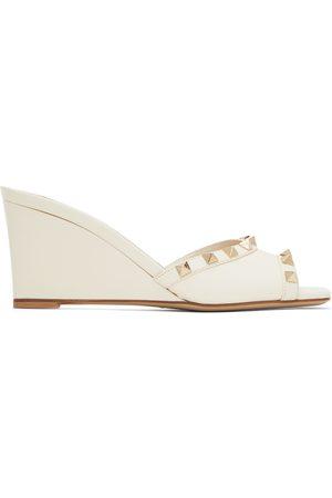 VALENTINO GARAVANI Women Sandals - Off- Rockstud Wedge 70 Mules