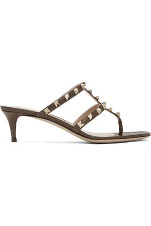 VALENTINO GARAVANI Women Sandals - Taupe Rockstud Flip Flop Heeled Sandals
