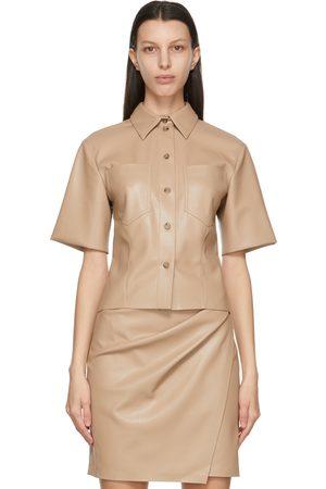 Nanushka Vegan Leather Sabine Short Sleeve Shirt