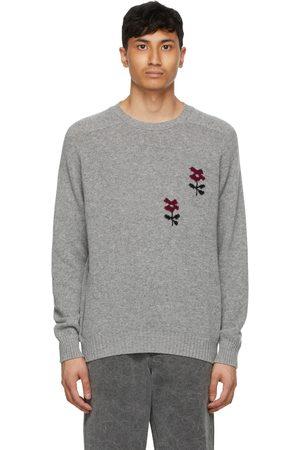 Noah NYC Men Sweaters - Grey Intarsia Flower Sweater