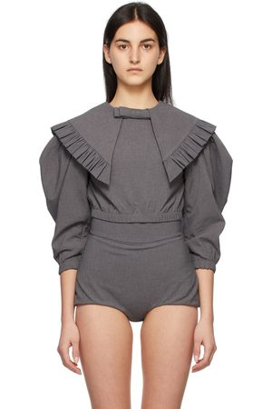 Shushu/Tong Women Blouses - Grey Peaked Collar Bow Blouse