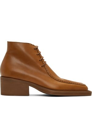Y / PROJECT Tan Duck Bill Ankle Boots