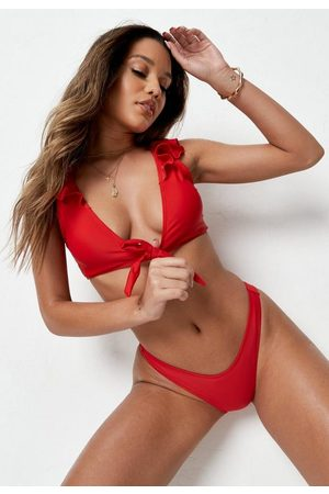 Missguided Frill Tie Front Bikini Top