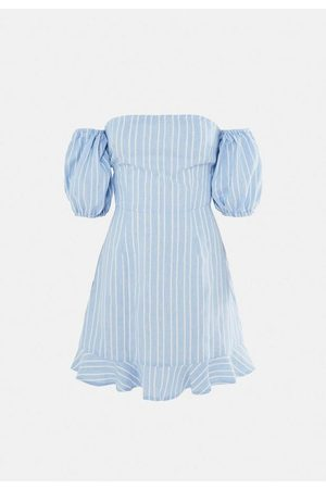 Missguided Stripe Tie Back Ruffle Hem Dress