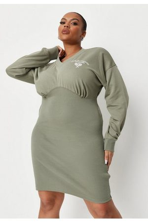 Missguided Plus Size Khaki Graphic Bodycon Sweatshirt Dress