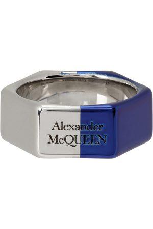 Alexander McQueen Men Rings - And Chrome Hexagonal Ring