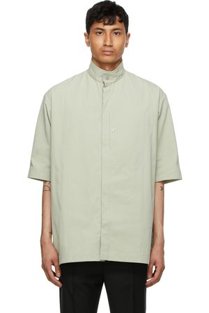 TOM WOOD Khaki Gabardine Capital Short Sleeve Shirt