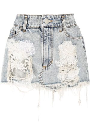 ALMAZ Denim distressed-finish mini skirt