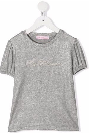 MISS BLUMARINE Embroidered logo short-sleeved T-shirt - Grey