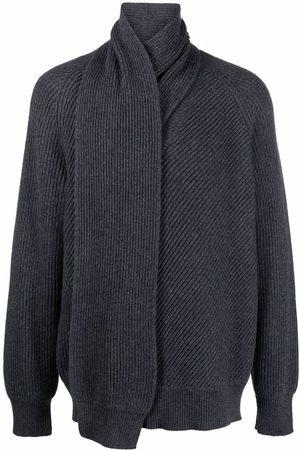 Alexander McQueen Scarf-neck wool jumper - Grey