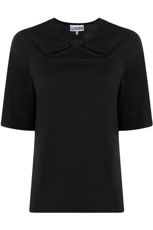 Ganni Twist-detail organic cotton T-shirt