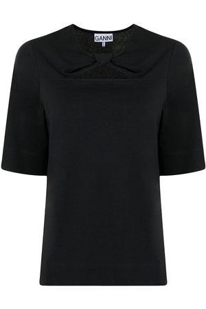 Ganni Twist-detail organic cotton T-shirt