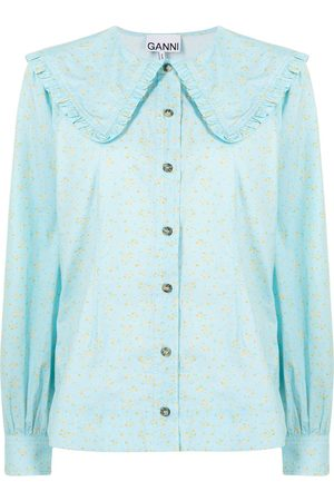 Ganni Floral-print long-sleeve shirt