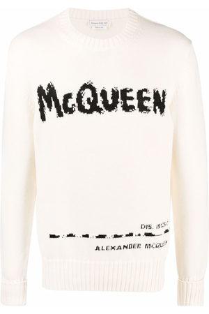 Alexander McQueen Graffiti intarsia-knit jumper - Neutrals
