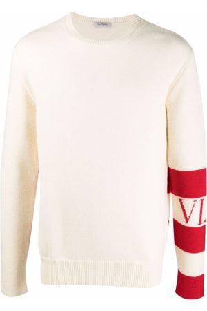VALENTINO Stripe-detail wool jumper - Neutrals