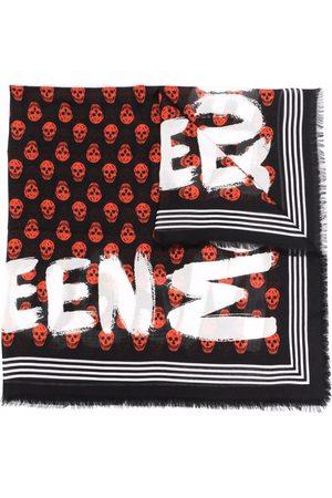 Alexander McQueen Skull pattern painted-print scarf