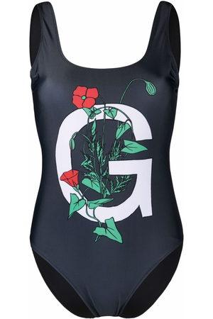 Ganni Logo-print floral swimsuit - Grey