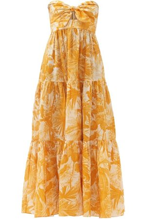 ZIMMERMANN Women Printed Dresses - Mae Amber Palm-print Linen Maxi Dress - Womens
