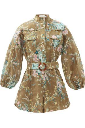 ZIMMERMANN Women Playsuits - Cassia Floral-print Belted Linen Playsuit - Womens - Print
