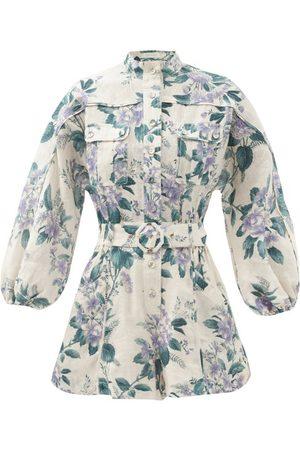 ZIMMERMANN Cassia Floral-print Belted Linen Playsuit - Womens - Print