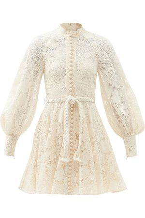 ZIMMERMANN Cassia Macramé-lace Belted Cotton Mini Dress - Womens - Ivory