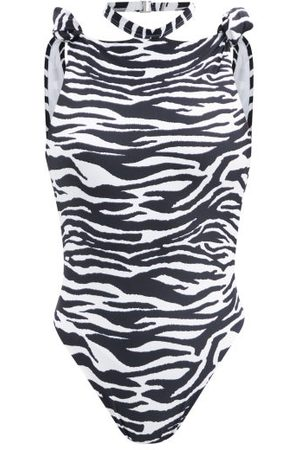 The Attico - Halterneck Knotted Zebra-print Swimsuit - Womens