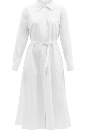 Women Casual Dresses - Norma Kamali - Boyfriend Cotton-poplin Midi Shirt Dress - Womens