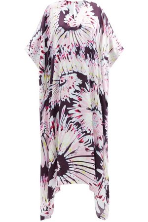 HALPERN Women Printed Dresses - V-neck Tie-dye Print Twill Kaftan - Womens - Multi