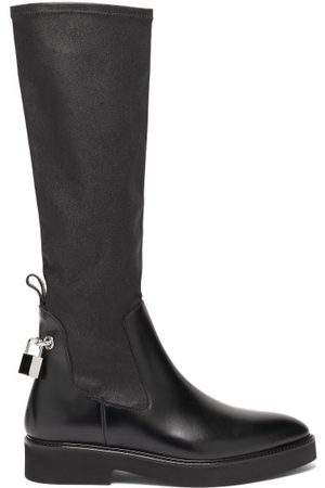 Christopher Kane Padlock Neoprene And Leather Knee-high Boots - Womens