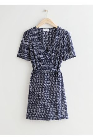 & OTHER STORIES Printed Scallop Wrap Mini Dress