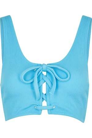 Ganni Lace-up seersucker bikini top