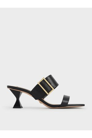 CHARLES & KEITH Leather Metallic Buckle Spool Heel Mules