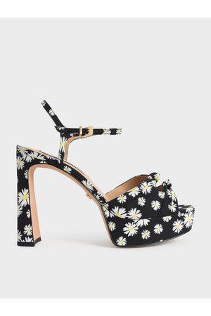 CHARLES & KEITH Knot Detail Daisy Print Platform Sandals