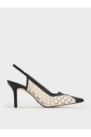 CHARLES & KEITH Crochet & Leather Slingback Pumps