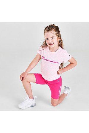 Champion Girls' Little Kids' Allover Print Zebra T-Shirt and Bike Shorts Set in /Animal Print/ Candy Size 4 Cotton