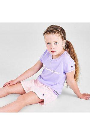 Champion Girls' Little Kids' Zebra Script T-Shirt and Shorts Set in Purple/Animal Print/Land Ice Size 4 Cotton