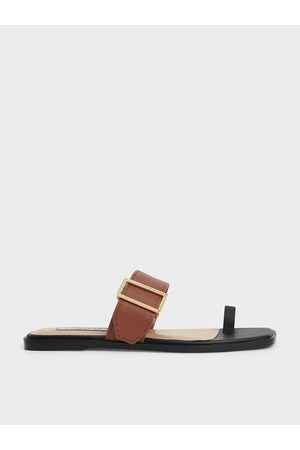 CHARLES & KEITH Women Flat Shoes - Leather Metallic Buckle Flats