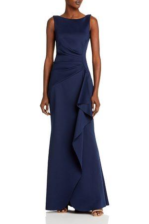 Eliza J Sleeveless Side Tuck Ruffle Gown
