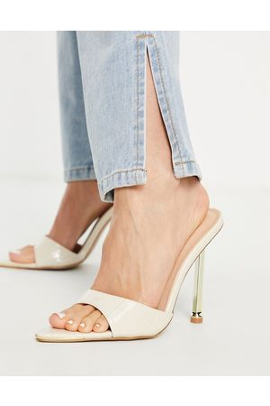 SIMMI Shoes Simmi London Torez pointed mules with gold heel in ivory croc